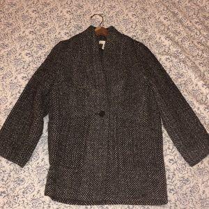 H&M tweed coat in black and white